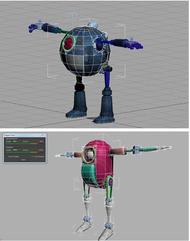 Низкополигональные модели роботов, выполненные в 3Ds MAX